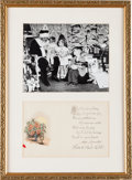 Baseball Collectibles:Others, 1930's Babe Ruth Signed Christmas Card Display....
