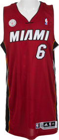 Basketball Collectibles:Uniforms, 2012-13 LeBron James Game Worn, Signed Miami Heat Jersey -Provenance From Former Teammate!...