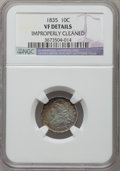 Bust Dimes, 1835 10C -- Improperly Cleaned -- NGC Details. VF. NGC Census: (8/473). PCGS Population (24/598). Mintage: 1,410,000. Numis...