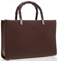 Gucci Brown Leather Structured Tote Bag with Bamboo Handles & Gunmetal Hardware