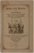 Books:Americana & American History, [Americana]. Hits and Hints. Boston: John J. Dyer, 1867. First edition. Publisher's printed wrappers, string bound. ...