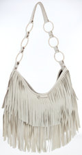 Luxury Accessories:Bags, Yves Saint Laurent Bone Suede Fringe Hobo Bag . ...