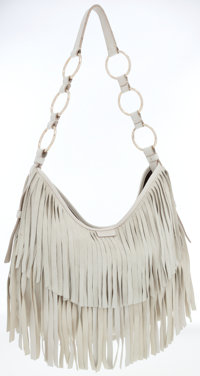 Yves Saint Laurent Bone Suede Fringe Hobo Bag
