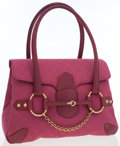 Luxury Accessories:Bags, Gucci Pink Classic Monogram Canvas Tote Bag with Horsebit Detail....