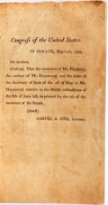 Books:Americana & American History, Congress of the United States. Documents (printed at the order of aMay 12th motion) relating to Thomas Pinckney, ...