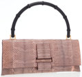 Luxury Accessories:Bags, Gucci Pale Pink Snakeskin Flap Bag with Bamboo Top Handle. ...