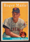 Baseball Cards:Autographs, 1958 Topps Signed Roger Maris #47 - Rookie Card. ...
