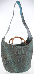 Luxury Accessories:Bags, Gucci Turquoise Blue Snakeskin Shoulder Bag with Bamboo Handles....
