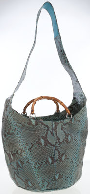 Gucci Turquoise Blue Snakeskin Shoulder Bag with Bamboo Handles