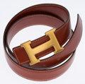 Luxury Accessories:Accessories, Hermes 75cm Brick Calf Box Leather H Belt with Gold Hardware. ...