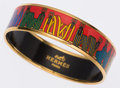 Luxury Accessories:Accessories, Hermes 65cm Red, Blue & Green Printed Enamel Bangle Braceletwith Gold Hardware. ...