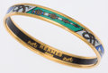 Luxury Accessories:Accessories, Hermes 65cm Blue, Green & White Printed Enamel Bangle Braceletwith Gold Hardware. ...