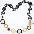 Luxury Accessories:Accessories, Marni Black & Cream Lucite Link Necklace. ...
