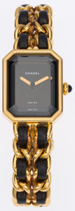 Luxury Accessories:Accessories, Chanel Premiere Ladies Watch with Classic Gold Chain and BlackLeather Strap Size M. ...