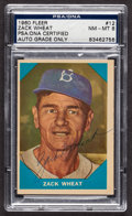 """Autographs:Sports Cards, Signed 1960 Fleer """"Baseball Greats"""" Zach Wheat #12 PSA/DNA NM-MT 8. ..."""