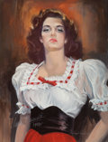Pin-up and Glamour Art, HOWARD CONNOLLY (American, 20th Century). Jane Russell in1942, 1982. Oil on canvas. 40 x 30 in.. Signed lower right. ...