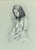 Pin-up and Glamour Art, LEO JANSEN (American, 1930-1980). Profile of a Nude Woman.Charcoal pencil on paper. 14.25 x 10.25 in. (image). Signed c...