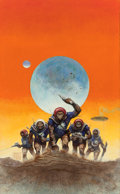 Pulp, Pulp-like, Digests, and Paperback Art, CARL LUNDGREN (American, b. 1947). Invasion of the Apes,probable science fiction cover, 1972. Oil on board. 25 x 15.5i...