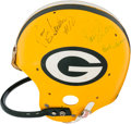 Football Collectibles:Helmets, Early 1980's Jan Stenerud Game Worn, Multi Signed Green Bay Packers Helmet. ...