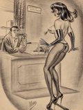 "Pin-up and Glamour Art, BILL WARD (American, 1919-1998). ""I Was Always Forgetting MyLines in the Legitimate Theatre,"" Humorama cartoonillustrati..."