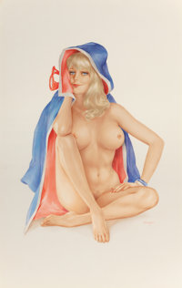 """ALBERTO VARGAS (American, 1896-1982) """"Well That Was Certainly an Interesting Variation on Mouth-to-Mouth Resusc"""