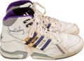 Basketball Collectibles:Others, Early 1990's James Worthy Game Worn, Signed Shoes....