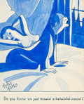 "Pin-up and Glamour Art, PETER ARNO (American, 1904-1968). ""Do You Know We Just Missed aBeautiful Sunset?,"" original cartoon illustration. Pen a..."