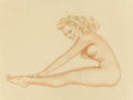 Paintings, ALBERTO VARGAS (American, 1896-1982). Varga Girl Reaching for Her Toes, preliminary sketch, 1947. Pencil and watercolor ...