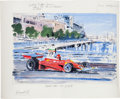 "Transportation:Automobilia, ""Niki Lauda At Monaco"" 1975 Watercolor Painting By NicholasWatts..."