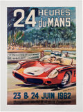 Transportation:Automobilia, Original Event Poster 1962 24 Heures du Mans By Michel Beligond...