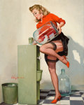 Pin-up and Glamour Art, GIL ELVGREN (American, 1914-1980). A Refreshing Lift, Brown& Bigelow calendar illustration, 1970. Oil on canvas. 30 x2...