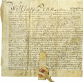 "Autographs:Statesmen, Splendid William Penn Document Signed, ""Wm Penn"", manuscript on vellum, one page with docketing, 11"" x 10.5"", Philadelph..."