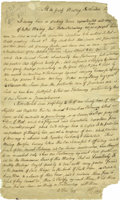 "Autographs:Statesmen, 18th Century Quaker Anti-War Manuscript Document, signed ""J.Kinsey"", one page, 7.5"" x 12.5"", London, 17__ (paper loss a..."