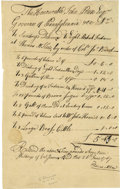"Autographs:Statesmen, Colonial Invoice Itemizing Supplies To Mohawk Indians. A scarceAutograph Document Signed, ""Thomas McKee"" and headed""..."