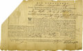 "Autographs:Statesmen, William Livingston Partly Printed Document Signed ""Wil.Livingston"" as Governor of New Jersey, one page, 13"" x 8"".Febru..."