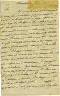 """Autographs:Statesmen, Robert R. Livingston Manuscript Letter Signed"""" """"Robt R.Livingston,"""" two pages, 7.5"""" x 12.25"""", front and verso.Philadel..."""