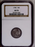 Early Dimes: , 1796 10C AU55 NGC. NGC Census: (19/106). PCGS Population (16/68).Mintage: 22,135. Numismedia Wsl. Price: $7,550. (#4461)...