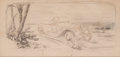 Transportation, Original Ernest Montaut Pencil Drawing on Back of Paper of FinishedDrawing for Stone Lithograph ...