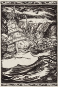 Mainstream Illustration, HENRY CLARENCE PITZ (American, 1895-1976). Ship in Rocky Waters,probable book illustration. Pen and ink on paper. 12.5 ...