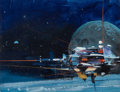 Pulp, Pulp-like, Digests, and Paperback Art, JOHN CONRAD BERKEY (American, 1932-2008). Space Mail,preliminary illustration. Gouache and tempera on board. 7 x9.25 i...