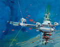 Pulp, Pulp-like, Digests, and Paperback Art, JOHN CONRAD BERKEY (American, 1932-2008). 2020 Vision,preliminary illustration for paperback, circa 1974. Gouache andt...