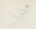 Pin-up and Glamour Art, ROBERT MCGINNIS (American, b. 1926). Woman in Hammock,preliminary sketch. Pencil on paper mounted to board. 8 x 11.75i...