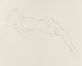 Pin-up and Glamour Art, FRITZ WILLIS (American, 1907-1979). Nude Lying Down, preliminarysketch. Conte crayon on tracing paper. 19 x 24 in.. Ini...