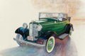 Mainstream Illustration, AMERICAN ARTIST (20th Century). 1932 Ford Sedan. Watercoloron paper. 15.25 x 22.75 in.. Signed indistinctly lower right...