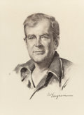 Mainstream Illustration, GIL ELVGREN (American, 1914-1980). Portrait of Actor GuyMadison. Charcoal pencil on paper. 21.5 x 16 in. (image).Signe...