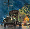 Mainstream Illustration, PETER (CLARENCE PETER) HELCK (American, 1893-1988). Mack Truck,probable advertisement. Gouache and tempera on board. 17...