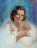 Pin-up and Glamour Art, ZOE MOZERT (American, 1904-1993). Glamour Portrait. Pastelon board. 22.5 x 17 in. (image). Signed center left. ...
