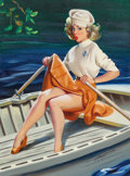 """Pin-up and Glamour Art, DONALD """"RUSTY"""" RUST (American, b. 1932). Canoe Trouble,1997. Oil on canvas. 24 x 18 in.. Signed and dated lower right. ..."""