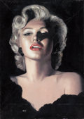 Pin-up and Glamour Art, RON LESSER (American, 20th Century). Luscious Marilyn. Oilon masonite. 30 x 21.25 in.. Signed lower left. ...