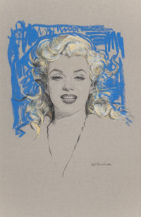 OLIVIA DE BERARDINIS (American, b. 1948) Portrait of Marilyn Monroe Pastel and charcoal pencil on bo